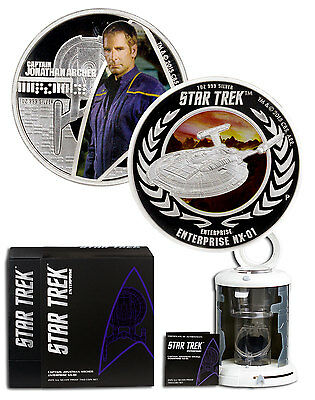 2015-P 1oz PF Silver Star Trek Capt Archer & Enterprise 2-Coin Set OGP SKU43799