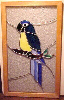"""Gorgeous 22.5"""" X 13.5"""" Leaded Stained Glass Framed Milti-Color Parrot Window Art"""