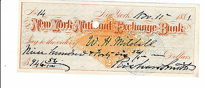 Antique Check  1881 The New York National Exchange Bank ,  Revenue Stamp