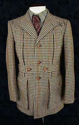 Superb Mens Harrods Bladen Vtg Tweed Norfolk Shooting Hunting Jacket 40 Reg Med