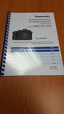 Panasonic Lumix Dmc Fz1000 Instruction Manual User Guide Printed 367 Pages (A5)