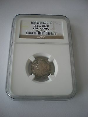 Very Rare 1893 PROOF Sixpence 6d Queen Victoria NGC PF64 Cameo