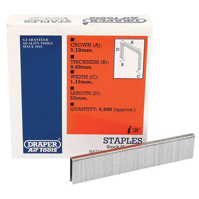 5000 Draper 22mm Staples To Fit For 57555 Air Stapler and 83659 Electric Stapler