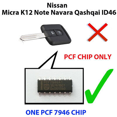 Nissan Micra K12 Note Navara Qashqai Pcf Chip7946 Loaded Key Fob Remote Pcf Chip