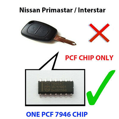 Nissan Primastar Interstar Pcf Chip7946 Loaded Key Fob Remote Pcf Chip