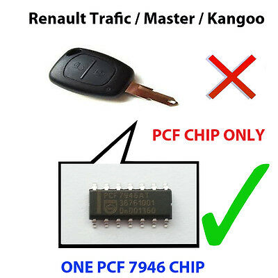 Renault Traffic Master Kangoo Pcf Chip7946 Pre Loaded Key Fob Remote Pcf Chip