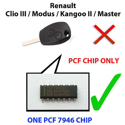 Renault Clio Iii / Kangoo Ii  Pcf Chip7946 Pre Loaded Key Fob Remote Pcf Chip
