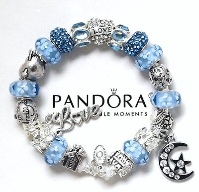 Authentic Pandora Bracelet Silver Blue Angel Wife Mom European Charms New