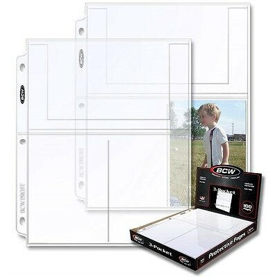 (100) Pages BCW Pro 3-Pocket Photo Protector 4 x 6 Inch Pockets
