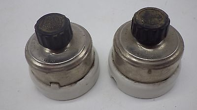 2 Antique  Perkins Porcelain & Brass Light Switch Single Pole Turn Knob