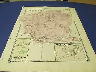 Antique 1870 map of Sutton  Ma. by Beers, original