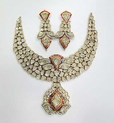 Vintage antique Solid 20K Gold jewelry diamond polki enamel  Necklace & Earring