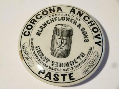 Antique GORGONA ANCHOVY PASTE Blanchflower Gt Yarmouth Pictorial b/w Pot Lid