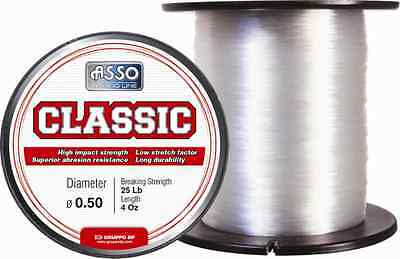Asso Classic Sea Fishing Line - 4oz Spool - Clear - All Sizes