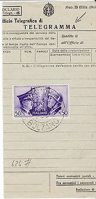 Italy, Scott #416 used as telegraph tax stamp ?, 1941