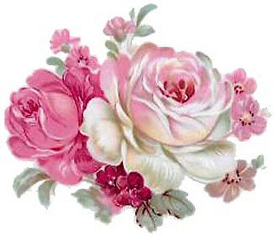 XL PinK & IVoRy RoSe BuNcHeS ShaBby WaTerSLiDe DeCALs ~FuRNiTuRe SiZe~