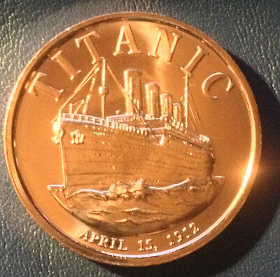 1 Oz Copper Round Titanic April 15, 1912