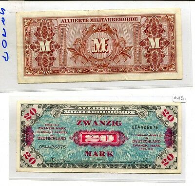 Germany 1944 20 Mark Currency Note Vf Xf  2960G