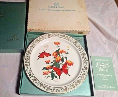 Lenox China Ruddy Daggerwing Lanata Collector Plate Butterflies Flowers
