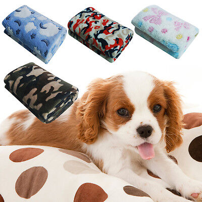 Warm Pet Mat Small Large Paw Print Cat Dog Puppy Fleece Blanket Bed Cushion TY