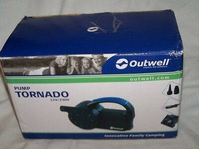 Outwell Tornado Pump 12v 230v camping bed inflate deflate rechargeable