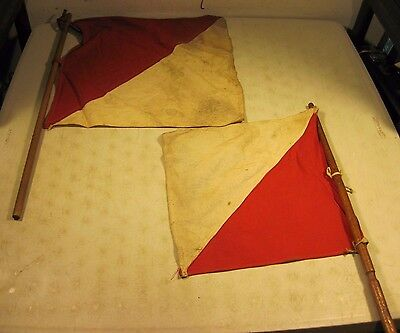 Vintage Antique Pair Of Symmetry Signal Flags Red White