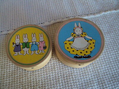 Vintage Wooden Easter Boxes Round Boxes Lot Of 2 Vintage Boxes