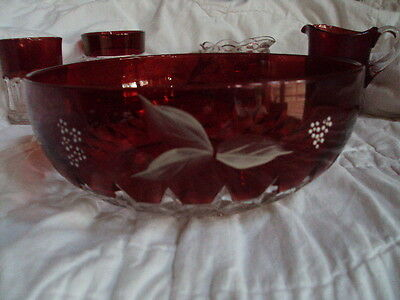 Eapg Ruby Stained Corona Master Berry Bowl With Enamel Flowers Vgc