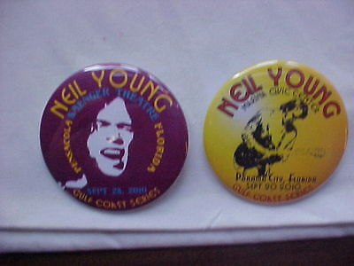 Neil Young Gulf Coast Concert Series Lot of 2 Pins Great