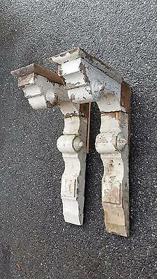 "Large Antique Pair Wooden Architectural Corbels Victorian Salvage 32"" X 20"" X 8"""