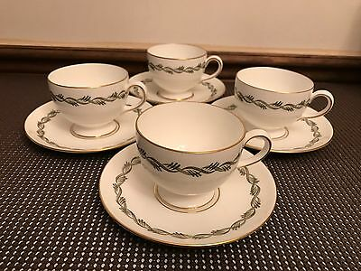 """Wedgwood """"CHILTERN""""  Pattern #W4284 ~ Set of 4 ~ Cups & Saucers ~ 2 1/2"""" Tall"""