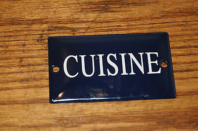 """Porcelain Sign """"Cuisine"""" Blue & White Heavy Screw in Sign Measures 4"""" by 2-1/4""""."""