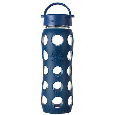 Lifefactory 22 oz Glass Bottle with Classic Cap - Midnight Blue
