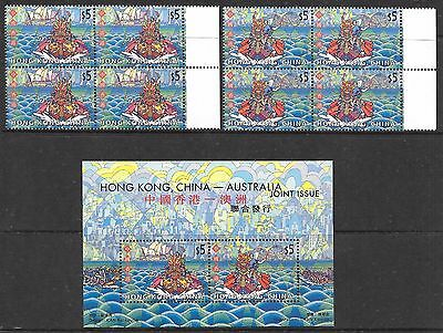HONG KONG 2001 joint issue with Australia blocks of 4 & M/S, UM. Face $50.