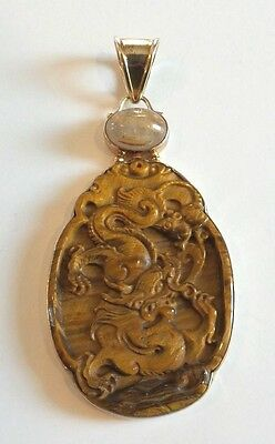 Stunning Large Chinese Carved Tiger's Eye Dragon Pendant, Vermeil Mounting