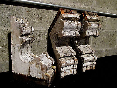 ~ Set Of 3 Victorian Antique Corbels ~ 14 Tall ~ Architectural Salvage