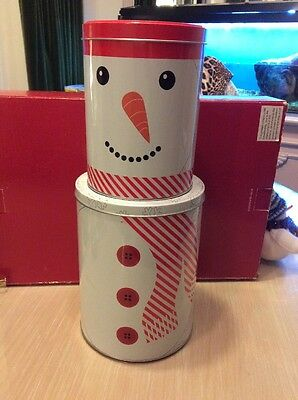 Christmas Snowman Storage Tins X 2 In White And Red, From Dunelm