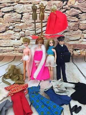 Vintage 1970s Dawn Doll Lot Ron Up And Away Pilot Outfits Extensions Dress Stand