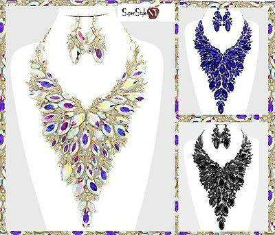 Marquise Crystal Rhinestone Chunky Long Evening Wedding Necklace Statement Clear
