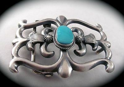 Navajo Turquoise and Sterling Silver Belt Buckle by Henry Morgan