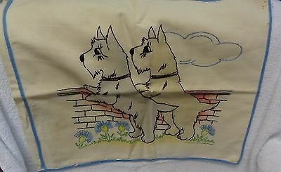 Scotty Scottie Dual Dogs Looking Over Brick Wall Pillow Cover