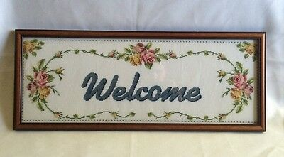 Welcome Sign Finished Completed Cross Stitch Flowers Framed Glass Picture 24x10