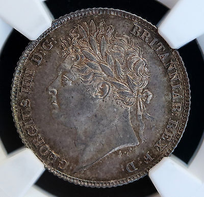 1824 Great Britain UK Silver Sixpence 6D  NGC MS64 George IV KM# 691 - S. 3814