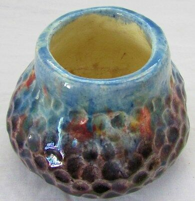 Pottery Signed Annie Mitchell Hand Built Pot Vase Multicolour Honeycomb Unusual