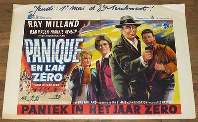 Panic In The Year Zero (1962) Aip End-Of-World Drama ~ Belgian Orig. Poster!