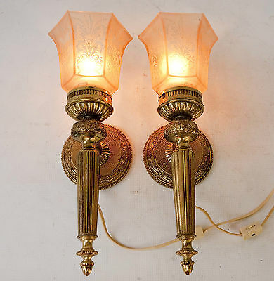 Vintage Pair Cast Brass Ornate Wall Sconces Light Lamp with glass Shades Spain