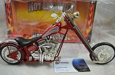 1:9 scale CUSTOM CHOPPER MOTORCYCLE Diecast model bike in CANDY RED