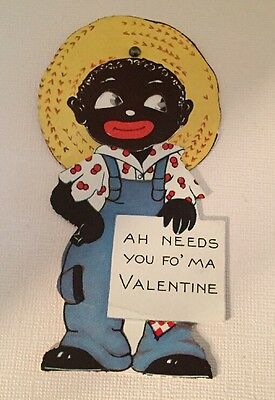 2 Vintage Black Americana VALENTINE Day Greeting Cards Moveable Eyes