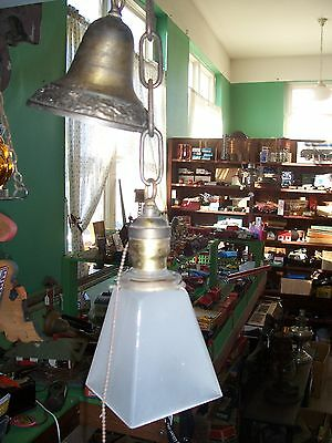 Vintage Ceiling Fixture, Mission Square Glass Shade Light, Chandelier