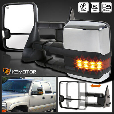 1999-2002 Silverado Sierra Facelift Style LED Power+Heated Chrome Towing Mirrors